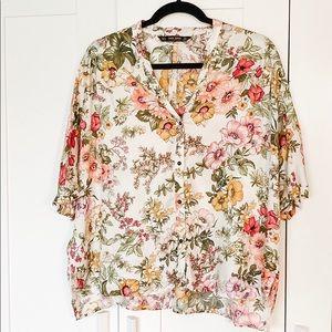 Zara Women's Flower Print Blouse